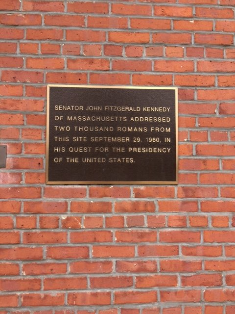 This plaque on the E. Court St. side of the building commemorates Senator Kennedy's stop in Rome, NY.