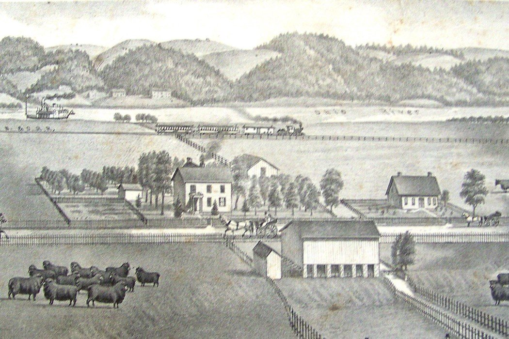 A sketch of the Cockayne farmstead. The slope past the barn exists today as the slope from the student parking lot. (Photo courtesy of the Cockayne Farmstead)