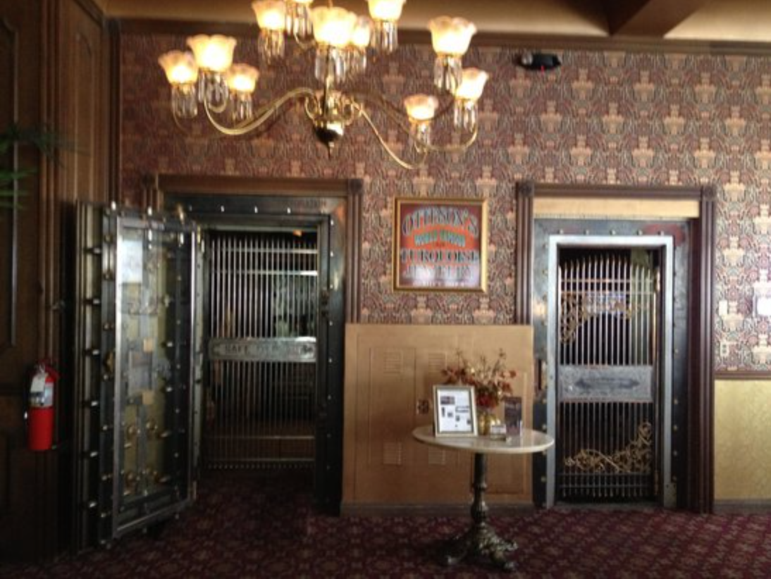 Pictured is the Tonopah Corporation Bank Vault that is still visible in the lobby today.