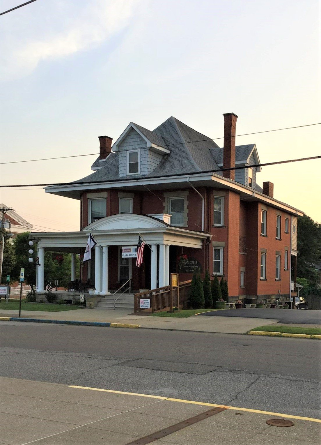 Exterior view of the Fostoria Glass Museum looking west across Tomlinson Avenue.