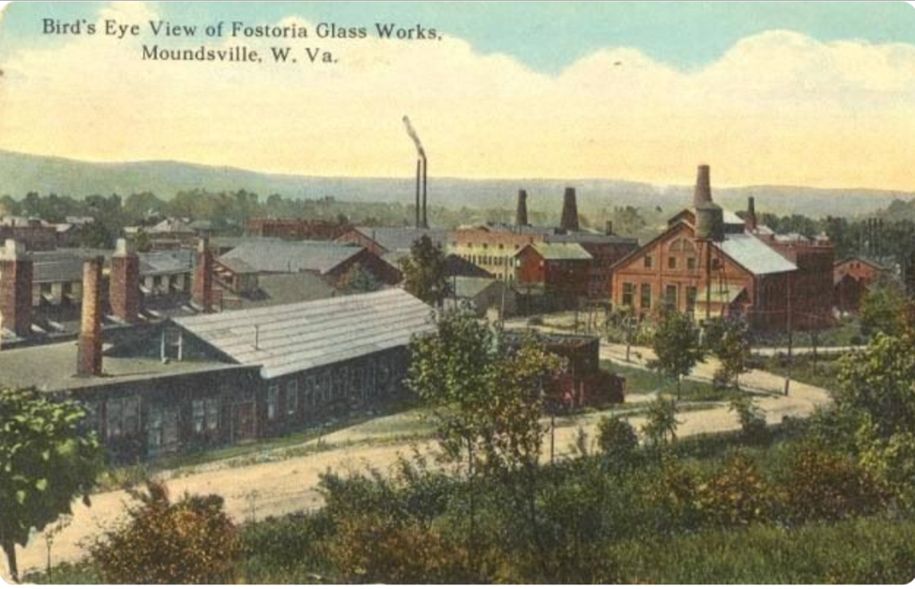 An old postcard showing the Fostoria Glassworks of Moundsville.