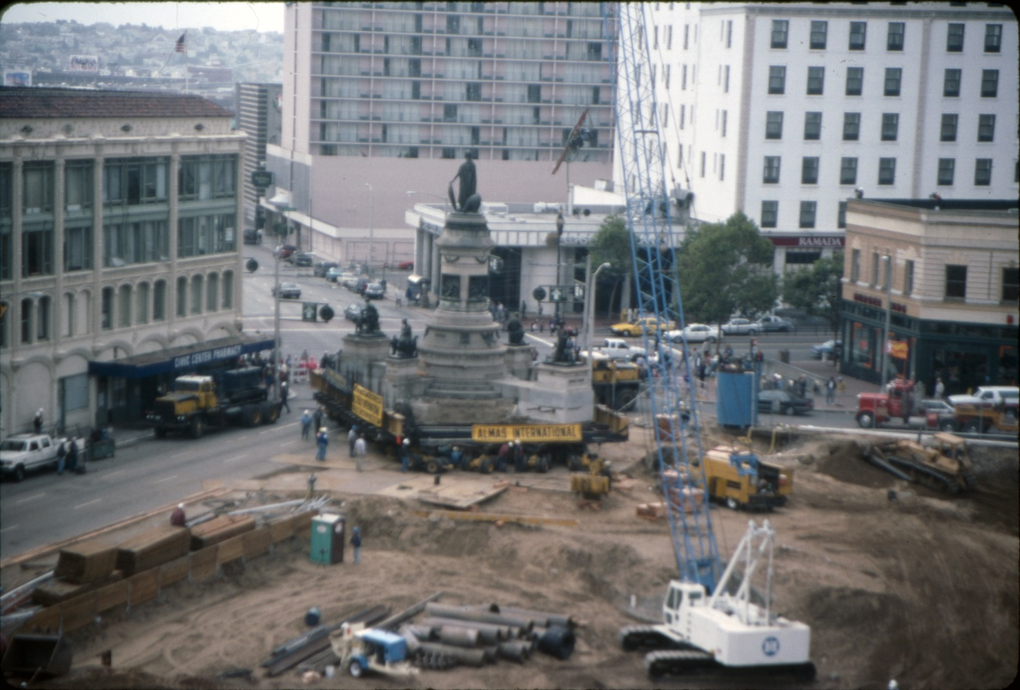 [Moving Pioneer Monument at the site of the new Main Library, Hyde Street and Grove Street]. July 10, 1993. Photo ID #: AAZ-0389. SAN FRANCISCO HISTORY CENTER, SAN FRANCISCO PUBLIC LIBRARY.
