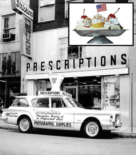 Dr. Strickler's Drug Store where the first banana split was served