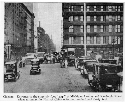 1918 picture of Michigan Ave. prior to the widening and building of the bridge (five years before the American Fore Building opened).