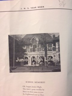 This is a photo of page 2 of the 1951 Rome Junior High Year Book, which highlights the architectural features of the front of the building.