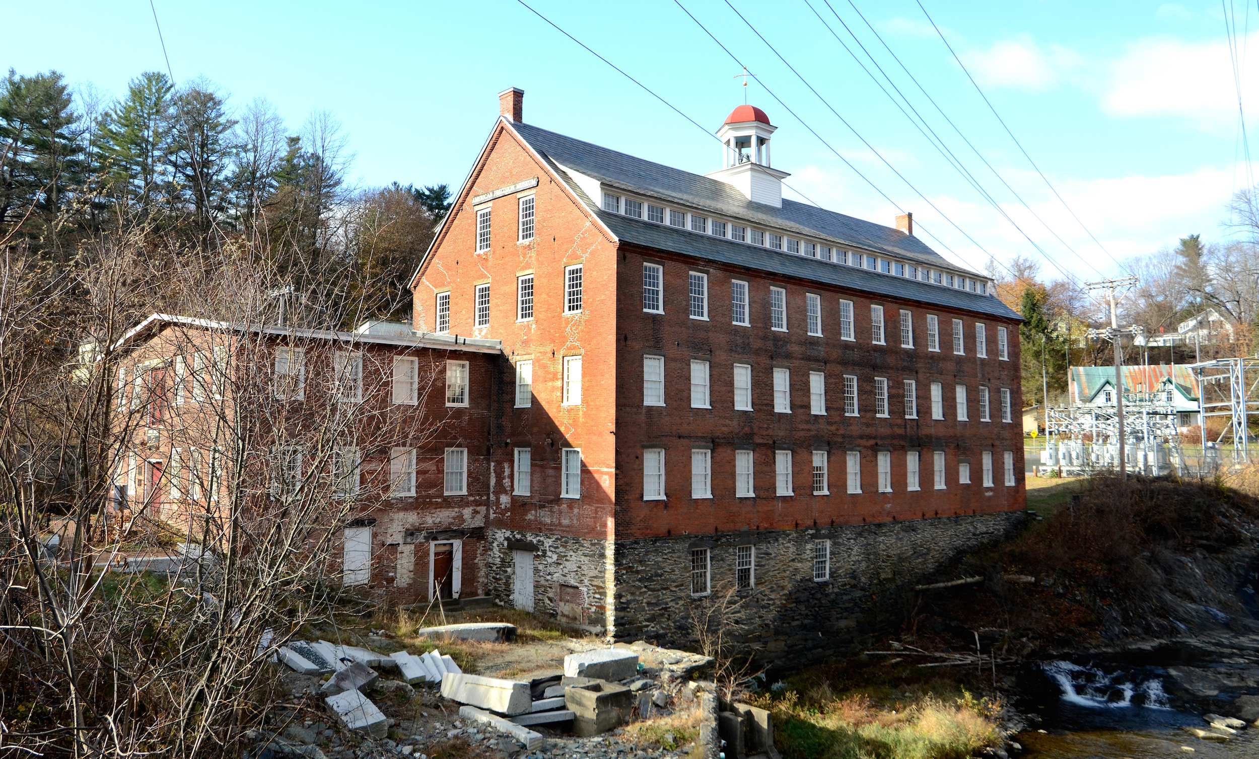 The Robbins and Lawrence Armory has sat on the Bank of the Mill Brook since 1846.
