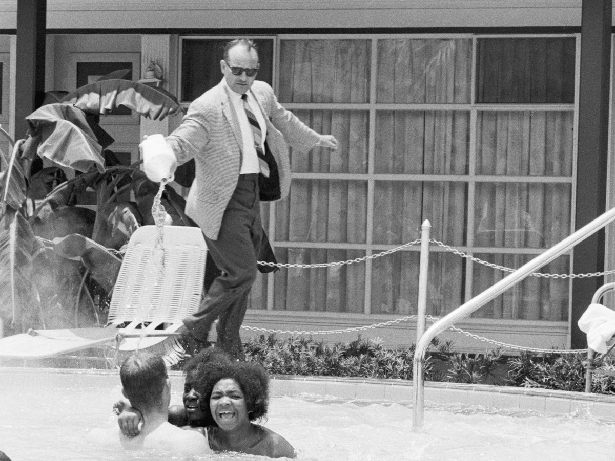 "On June 18, 1964, hotel owner James Brock dumped acid into the Monson Motor Lodge pool as part of his attempt to force two whites and five African Americans to abandon their ""swim in"" protest of the white-only hotel pool."