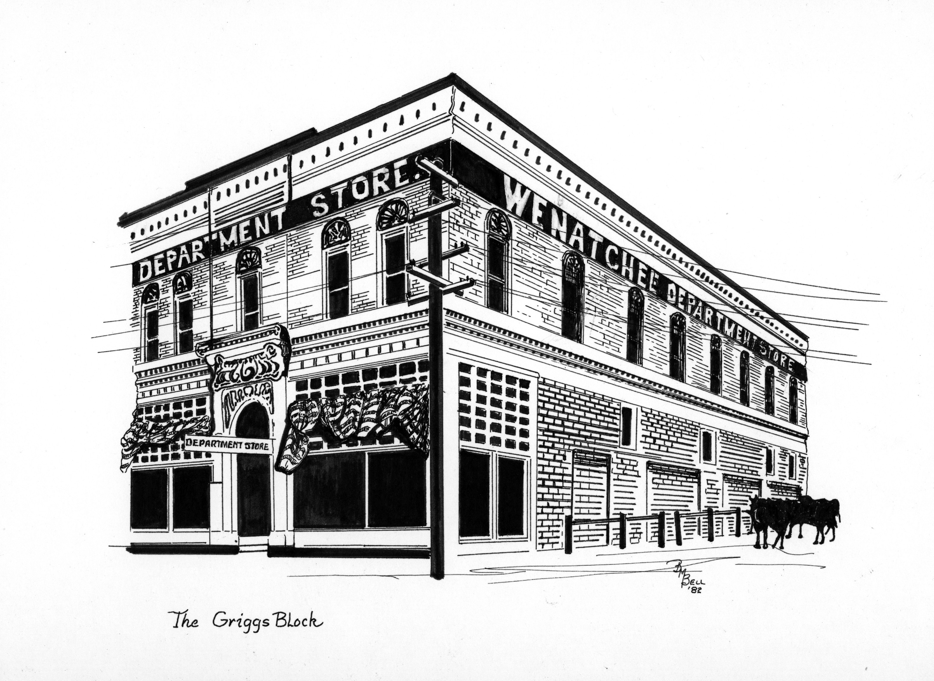 Illustration of the Griggs building by artist Betty Bell.