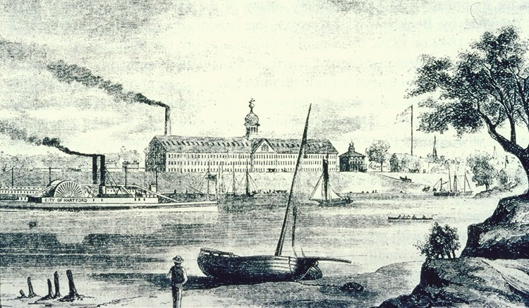 The Colt Armory as it looked in its earliest days, from an 1857 engraving.