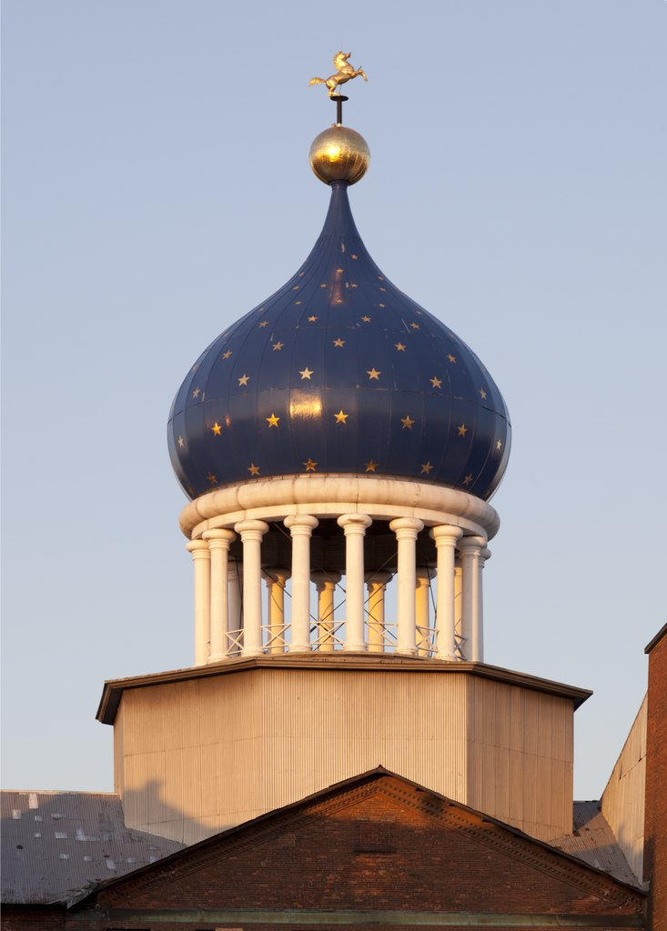 The famous blue onion dome from the rebuilt armory.