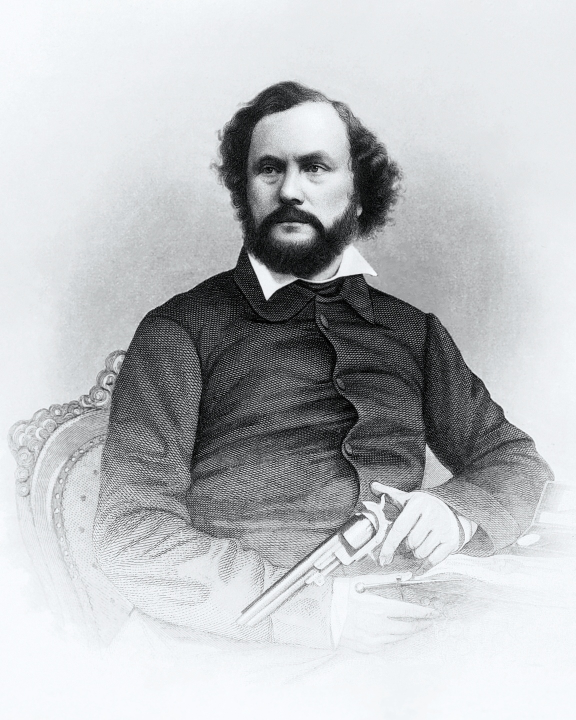 Samuel Colt holding one of his popular revolvers.