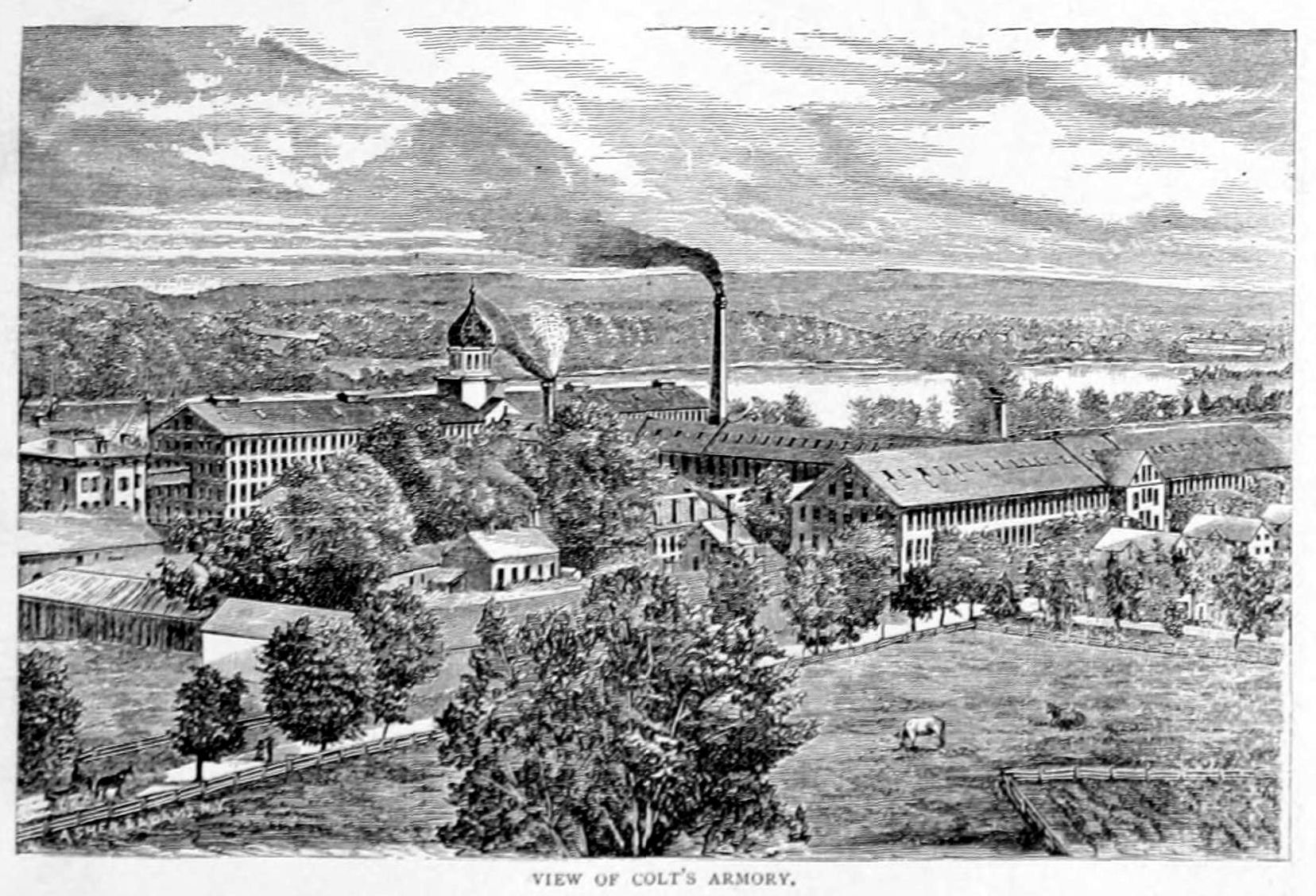 An 1896 engraving of the Colt Armory.