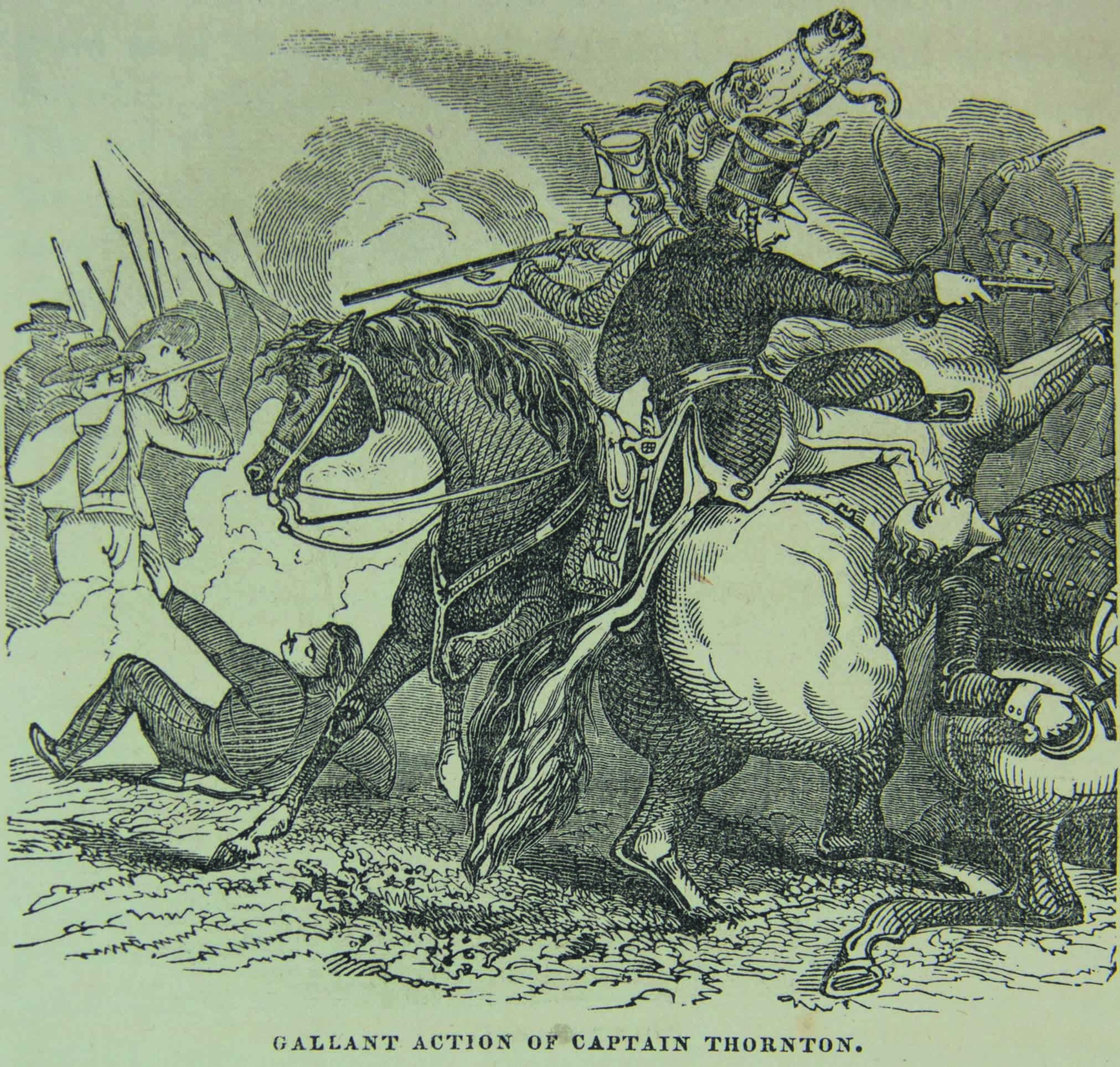Sketch of Captain Seth B. Thornton's cavalry skirmish at Carricitos Ranch on April 25, 1846.