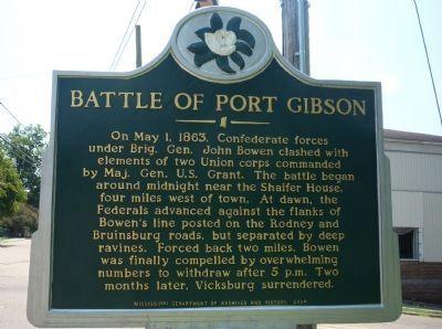 Battle of Port Gibson historical marker.