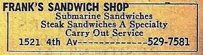 Frank's listing from 1973, advertising the famous steak sandwich
