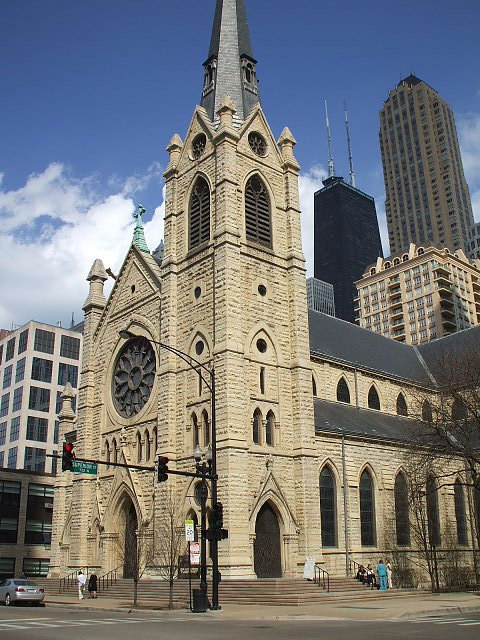 Holy Name Cathedral, located on State Street in Chicago