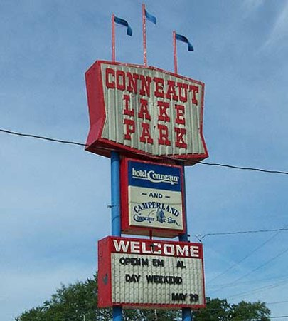 The Conneaut Lake Park sign visitors see as they visit the park.