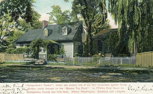Postcard depicting the Tavern from around 1910. The caption goes on to list the amount of famous revolutionary figures who have stayed there.