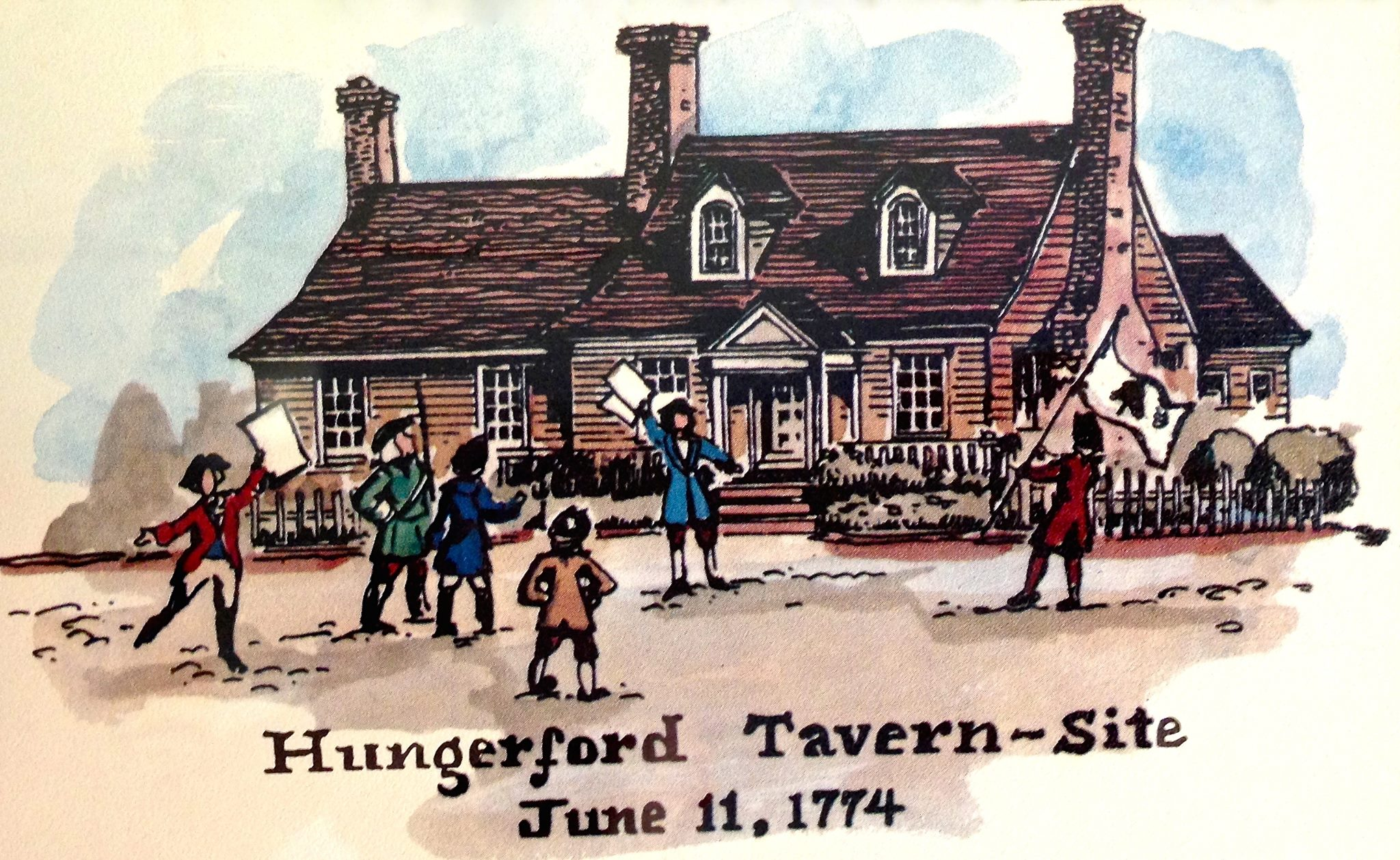 """Hungerford Tavern Site - Rockville, Maryland"" by Carol Stuart Watson. The artist depicts the scene surrounding the Hungerford Tavern just after the Hungerford Resolves are announced."