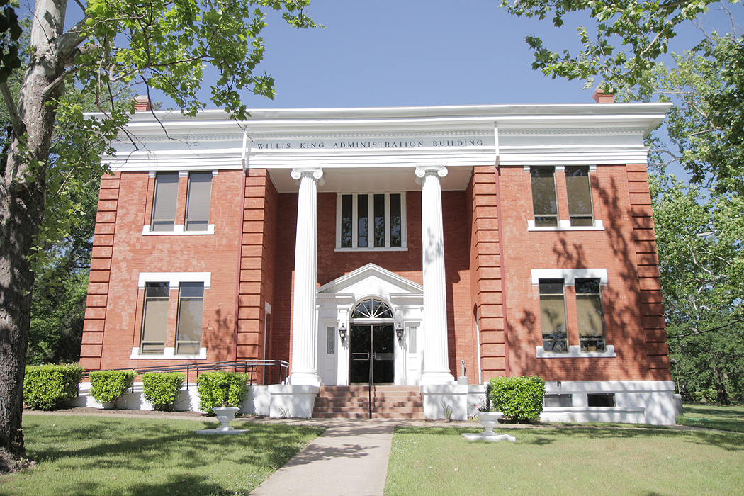 Originally the Carnegie Library, the Willis King Administrative Building was refurbished to contain the offices for the President, Executive Vice President, Vice President for Business and Finance, Human Resources and Sponsored Programs.