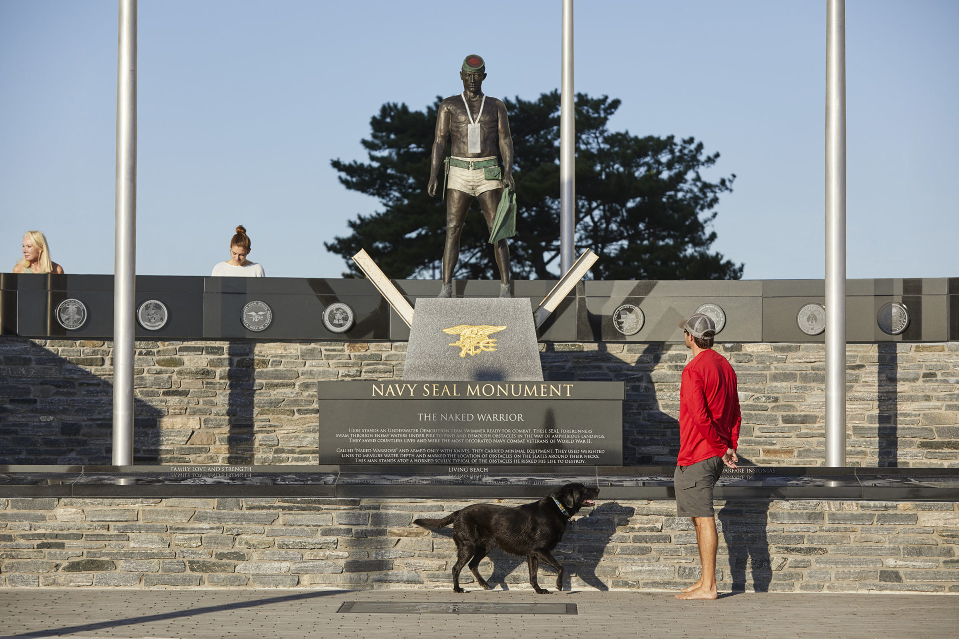 "A view from the ocean side of the monument showing the ""Frogman"" looking out to the shore"