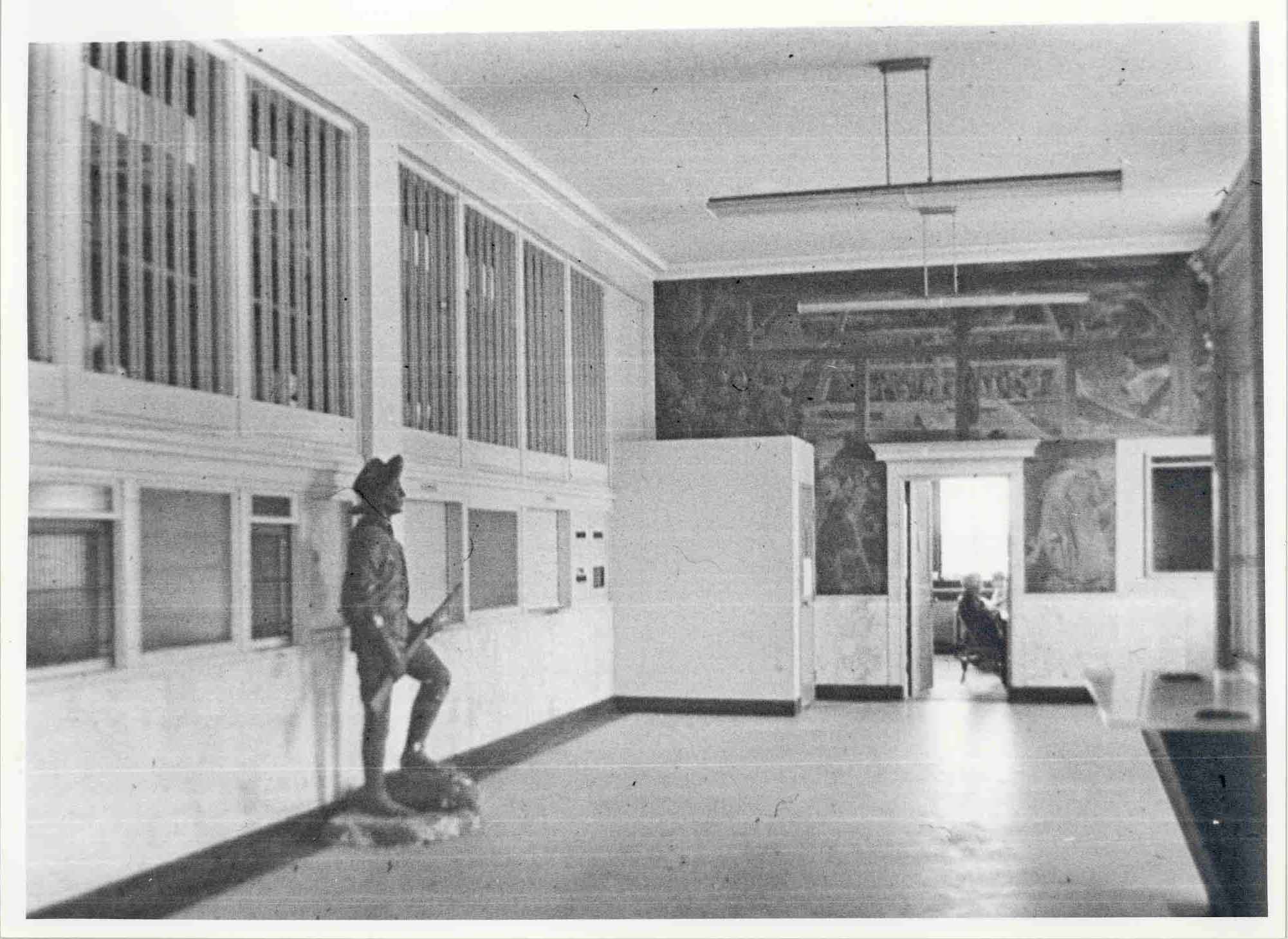 This is a photo, courtesy of Rome Historical Society, of the mural in its City Hall surroundings circa the mid-1900s.  The environs have changed over the years.
