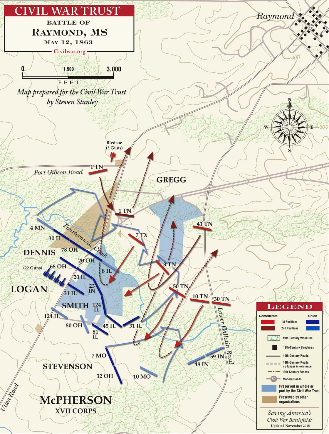 Map of Battle of Raymond, Mississippi