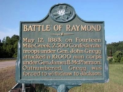 Historical marker for the Battle of Raymond, dedicated in 1971.