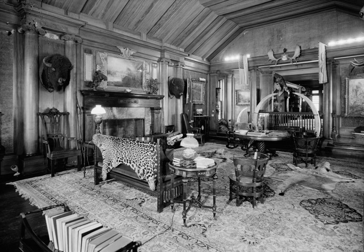 Theodore Roosevelt's Trophy Room at Sagamore Hill as it looked during his lifetime