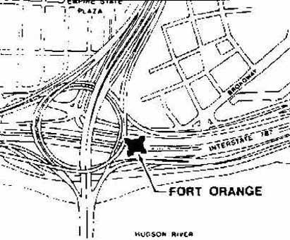 The Fort was near the modern-day junction of I-787 and U.S. routes 9 and 20