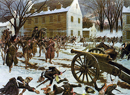 This is a painting by H. Charles McBarron Jr. from 1975 that is supposed to depict the Battle of Trenton.