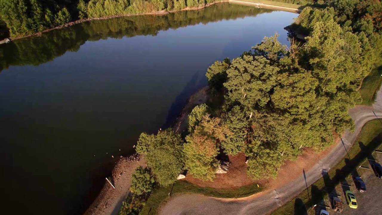 An aerial shot of Chambers Lake, a popular boating and fishing destination.
