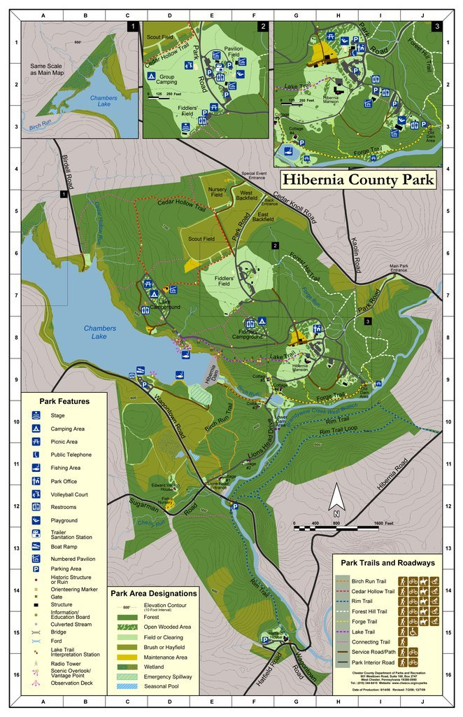 A map of the 990-acre Hibernia Park.