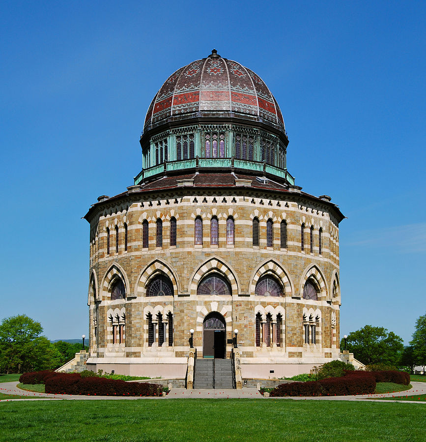 The Nott Memorial is 89 feet in diameter and capped with a ribbed dome.