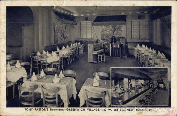 A postcard showing  Tony Pastor's in the 1940s. Image from Lost Womnyn's Space.
