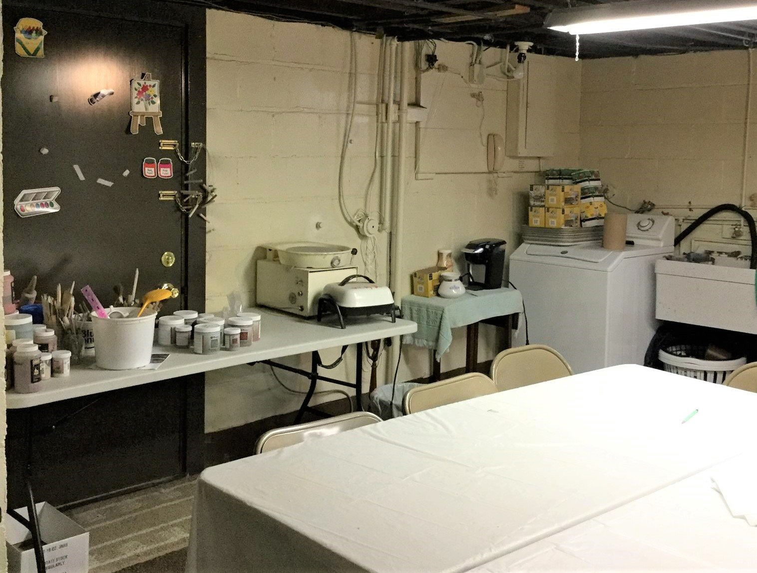 Work area for painting classes.