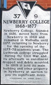 Plaque commemorating Newberry College's time in Walhalla