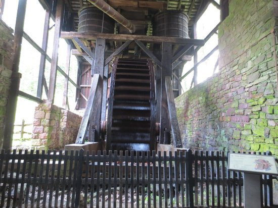 This large water wheel was used to compress air that was then shot into the blast furnaces.