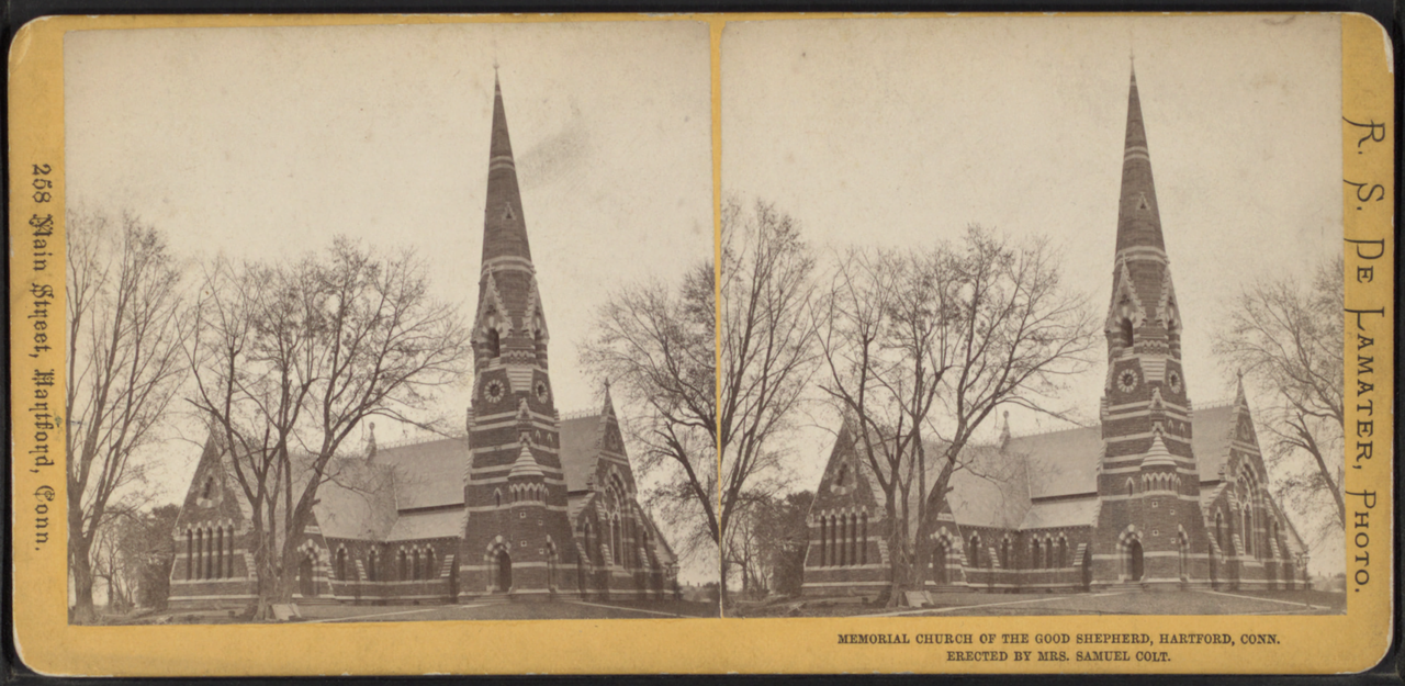 An exterior view (double exposure) of the church as it appeared when new (prior to the parish house being added).