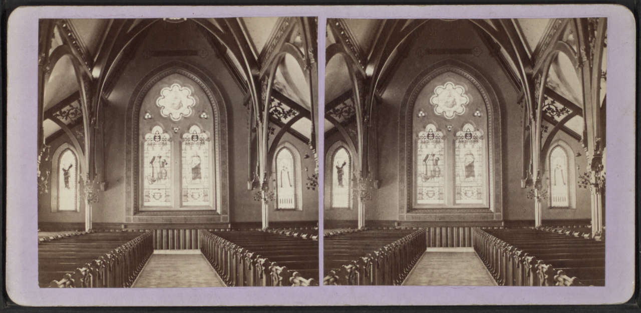 A 19th century photo of one of the church's stained glass windows.