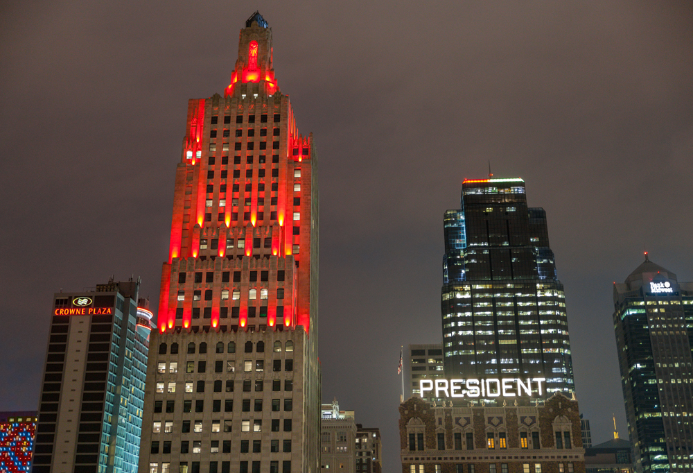 A series of color-changing LED lights illuminates the building every evening. Image obtained from Power & Light Apartments.