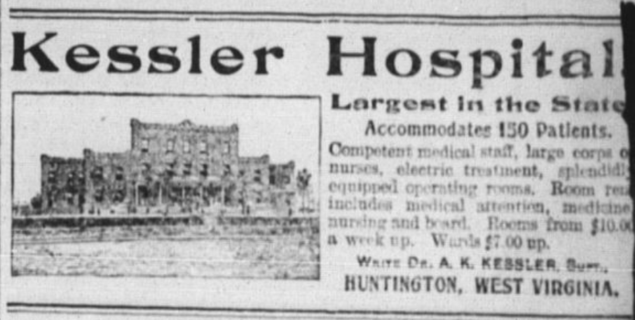 Ad for the Kessler Hospital in a May 1906 edition of The Big Sandy News