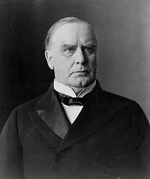 William McKinley. McKinley was the President of the United States at the time that the Maine was destroyed and consequently made the decision to enter conflict with Spain as a result.