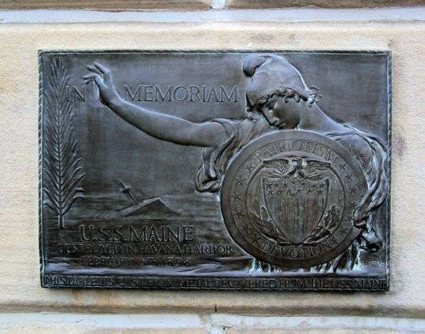 This plaque is made from metal that was recovered from the USS Maine and was dedicated in Steubenville in 1913