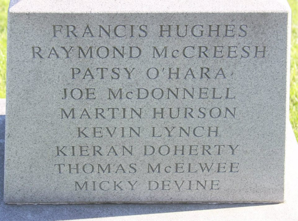 Names of the other strikers who died alongside Bobby, engraved on the monument.
