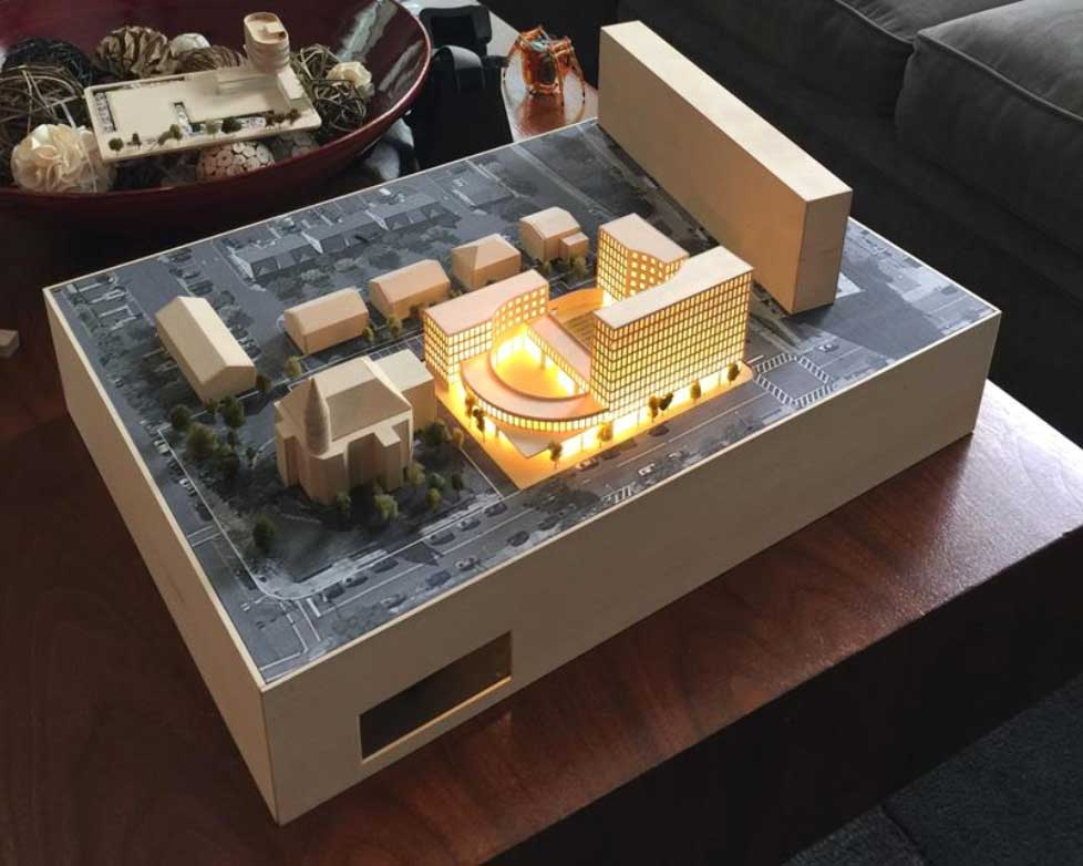 Model of the proposed development project. The mansion is on the bottom left corner. Photo: Makerhoods.org