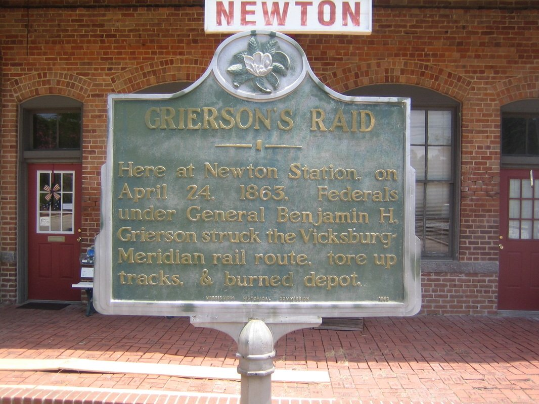 Marker for Grierson's Raid is at the train depot in Newton.