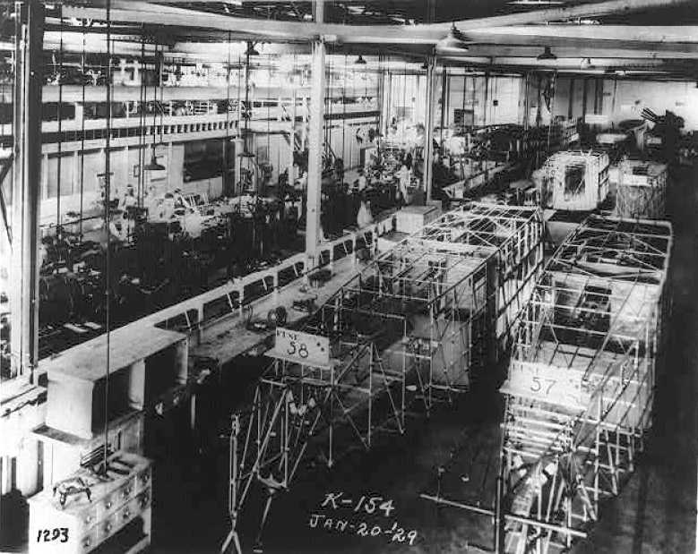 A 1/20/29 photo of the fuselage assembly line at the Fokker Aircraft Corporation of America, Glen Dale.
