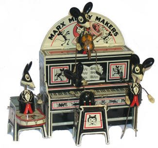 Merry Makers was a popular wind-up tin toy made by Marx