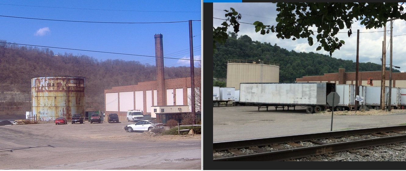 The factory as it sat empty (left) and the Warren Distribution Plant today (right).